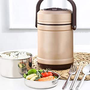 Tooboo Stainless Steel Insulated Food Container with Handle, Vacuum Thermal Food Flask, Double Walled Lunch Box for School Travel Camping Hiking,Bento-Styled Lunch Solution Offers Durable