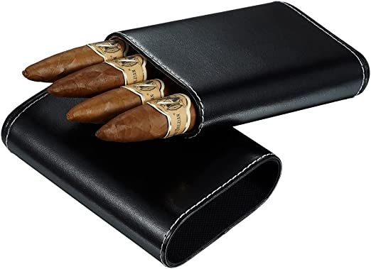 Visol Brown Leather Cigar Case with Interior Cedar Lining for 3 Cigars NEW