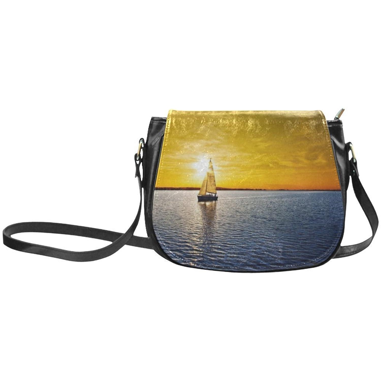 meincare Women's Sailing Vessel SAea Lonely PU Leather Classic Saddle Bag