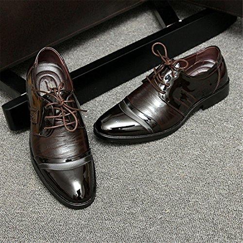 qianchuangyuan Chaussures de Ville Pour Hommes Neuves Cuir PU à Lacets Bout D'Affaires Oxfords Chaussures Marron CxgJj00R