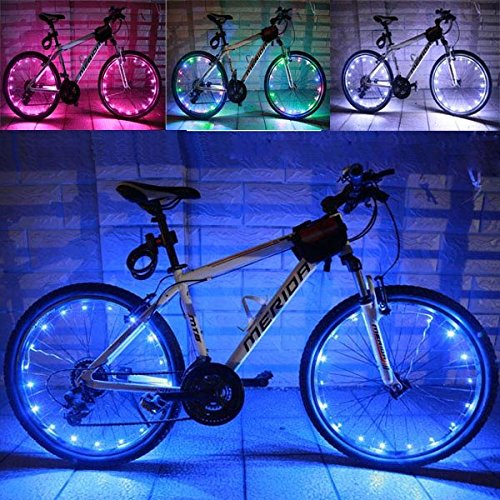 dipshop Bike Bicycle Wheel Valve Spoke LED Light Lamp Reflector ( Colorful ) (How To Wear A Santa Hat)