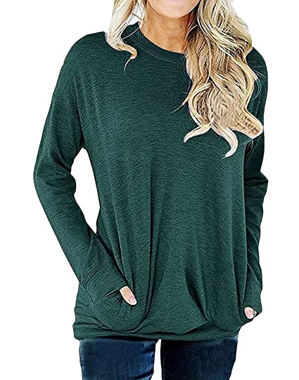 182c59a5484 Women Fall Winter Tunic Pullover Sweatshirt Long Sleeve Tops Blouse Shirts  for Christmas New Year Size