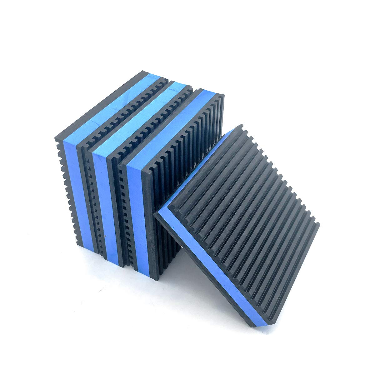 "Forestchill Heavy Duty Anti-Vibration Pads 4"" x 4"" x 7/8"" Ribbed Rubber with Blue Foam Center Isolation Pad for HVAC,Air Compressor, Washer and Dryer, Air Conditioner Units (Pack of 4)"