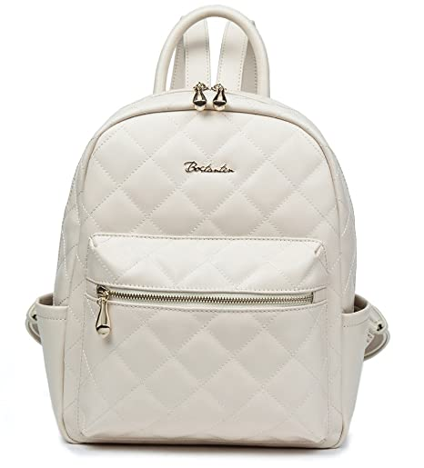 BOSTANTEN Women Cow Leather Backpack Purse Satchel School Bags Knapsack for College White