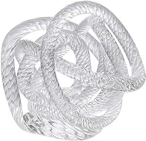 Wakauto Glass Knots Decor, Glass Knot Sculpture Home Art Abstract Rope Knot Living Room Decor Glass Craft Desk Wine Cabinet Art (White, Small Size, Random Shape)