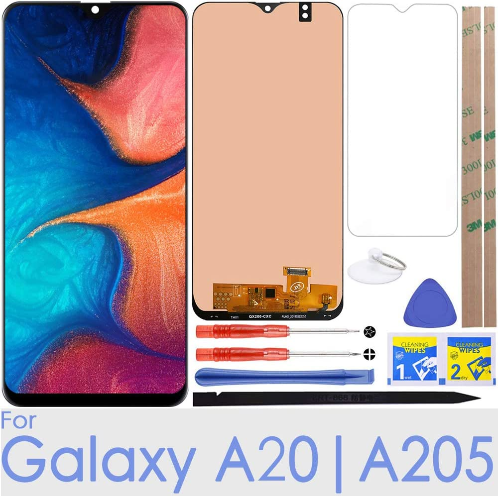 """A20 LCD Screen Replacement Touch Digitizer Display 6.4"""" (Black) for Samsung Galaxy A20 A205 SM-A205F/DS SM-A205U A205FN A205GN/DS A205YN A205G/DS SM-A205W"""