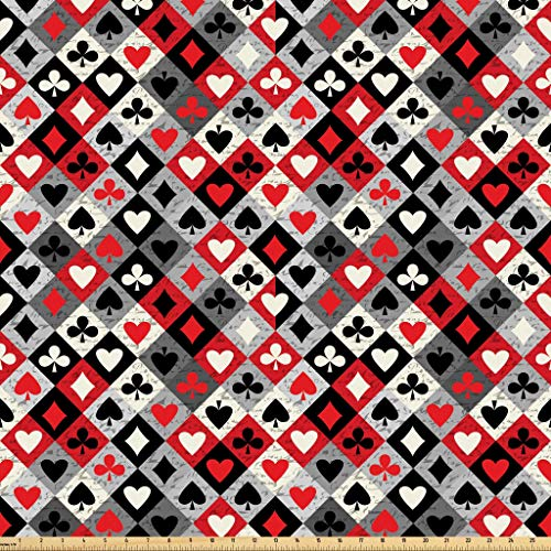 Lunarable Casino Fabric by The Yard, Checkered Rhombus Pattern with Playing Card Grunge Display Gaming Club Theme, Microfiber Fabric for Arts and Crafts Textiles & Decor, 1 Yard, Multicolor from Lunarable