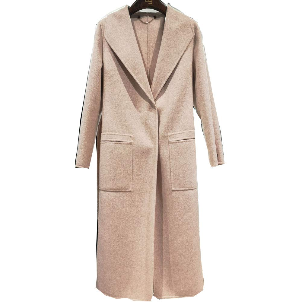 CG Women Notched Lapel Single Breasted Long Wool Coat Solid Color Classic Pea Overcoat 890G102