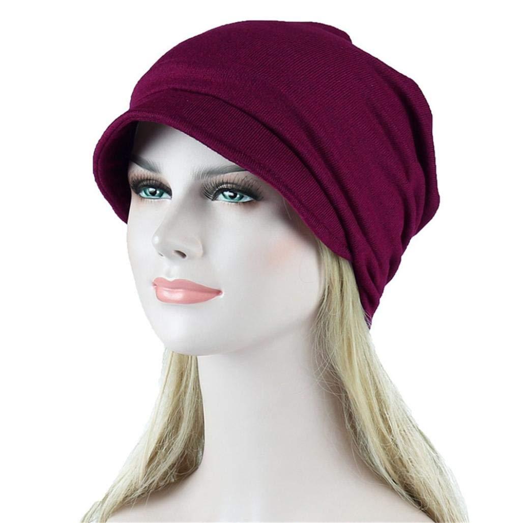 EnjoCho Women India Muslim Stretch Head Scarf Wrap Soild Color Hair Loss Turban Hat Visor (Black)