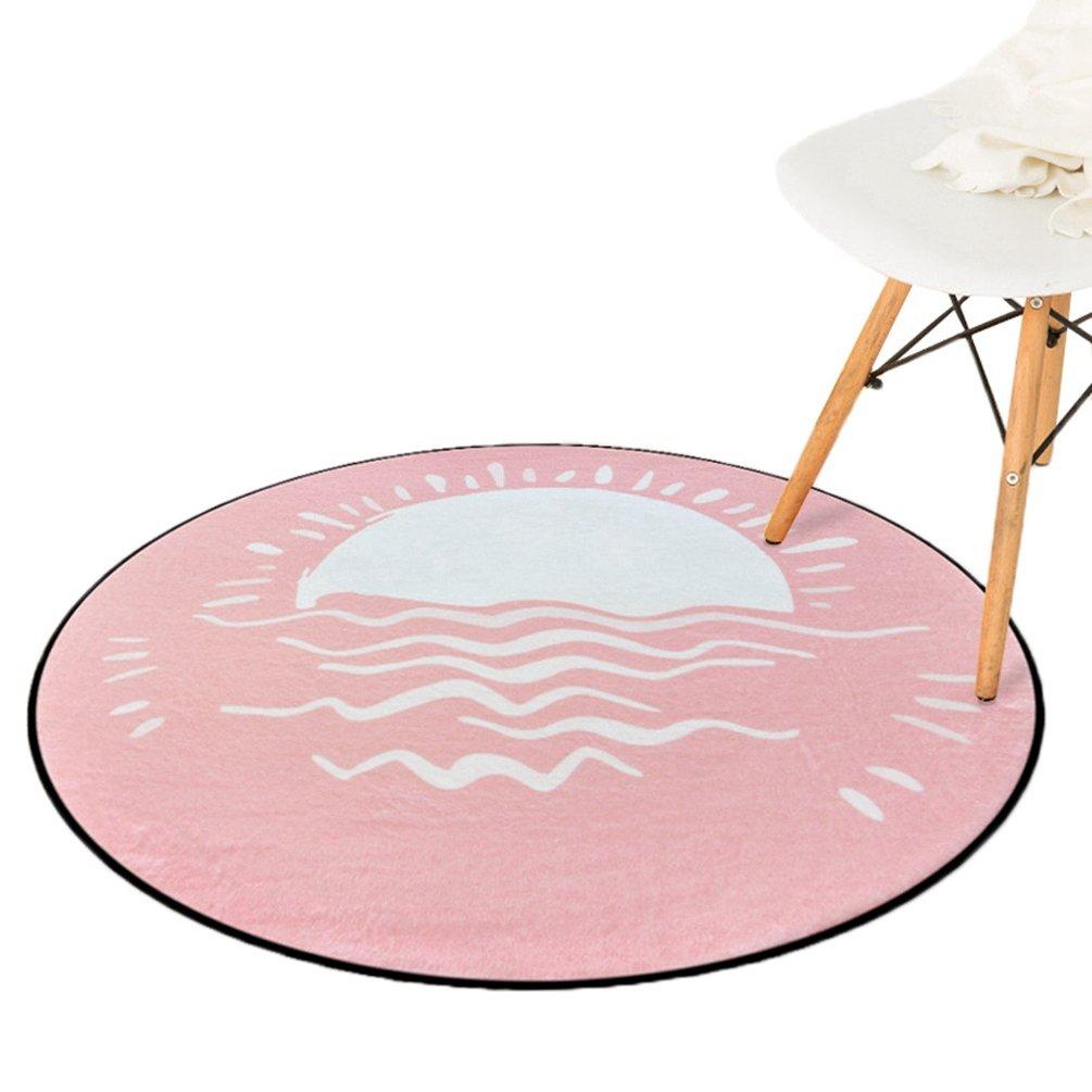 丸いカーペット 円形マット 北欧風 天気ラグ 足拭き 柔らかい 床保護マット チェアマット 大きいサイズ 直径60cm-150cm 屋内用 子ども部屋 ベッドルーム 滑り止め 吸水 洗える 速乾性 ブルー ピンク グレー 150*150cm B07B3NQZZS 直径150cm|ピンク ピンク 直径150cm