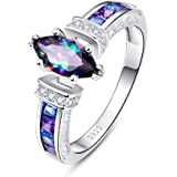 Merthus Womens 925 Sterling Silver Created Mystic Rainbow Topaz Promise Engagement Ring