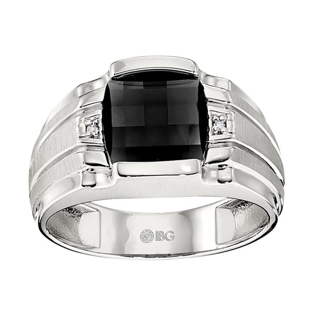 Sterling Silver Onyx and Diamond Ring. Finger Size 12