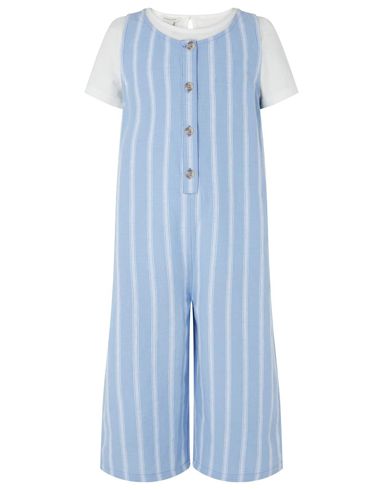 Monsoon Linen Blend Peta Romper & T-Shirt Daywear Sets - Girls - 9 Years Navy by Monsoon (Image #1)