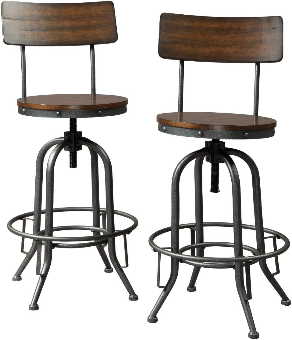 Signature Design by Ashley - Odium Swivel Pub Height Bar Stool - Set of 2 - Brown