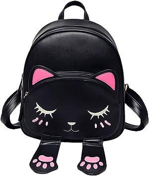 Espeedy Moda Mujer Mochila de Gato de Dibujos Animados de Cuero Ajustable de la Correa Mochilas para Las niñas Bolso de Viaje de Hombro del Estudiante