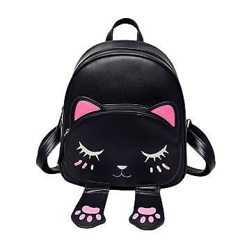 Espeedy Moda Mujer Mochila de gato de dibujos animados de cuero ajustable de la correa mochilas para las niñas bolso de viaje de hombro del estudiante: ...
