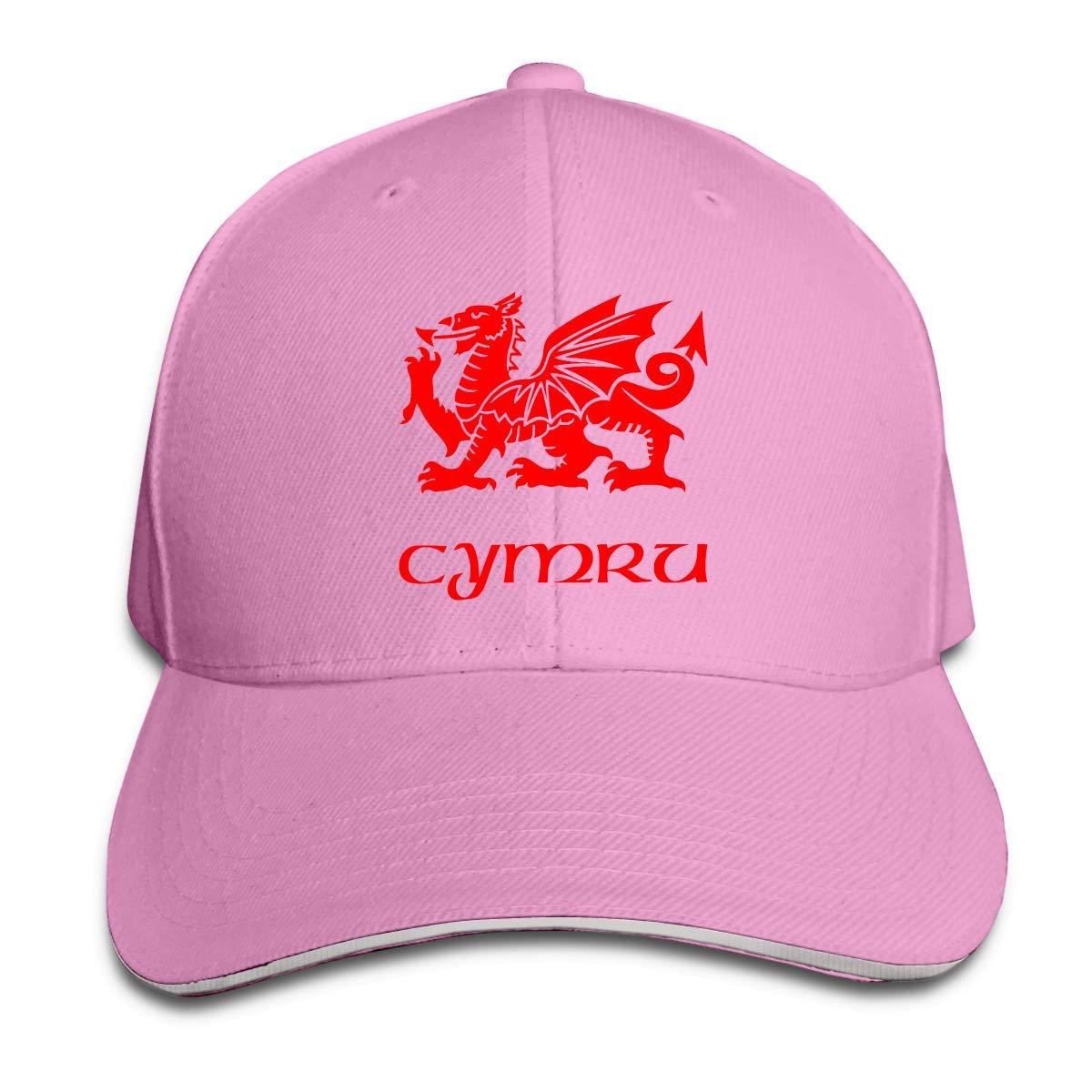 Nigmfgvnr Wales Welsh Dragon Yard Flag Unisex Adult Adjustable Peaked Sandwich Hats Trucker Cap Baseball Cap Black