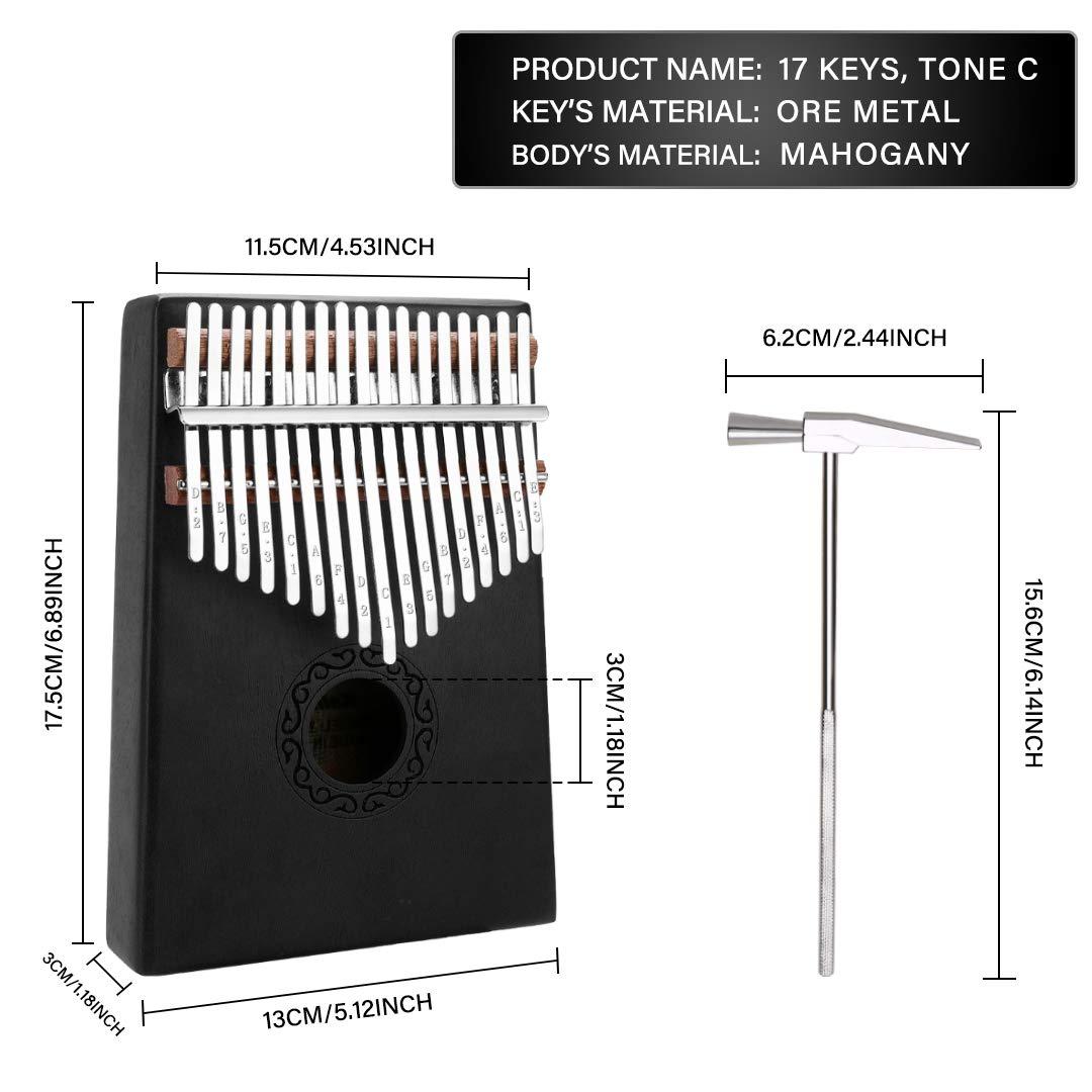 17 Keys Kalimba Thumb Piano, Mini Blue and Black Diy Kalimba 17 Key Thumb Kalimba Musical Instruments Solid Mahogany Wood Body Finger Piano Kalimba with Tune Hammer for Adults Kids Beginners(Black) by Tocawe (Image #2)