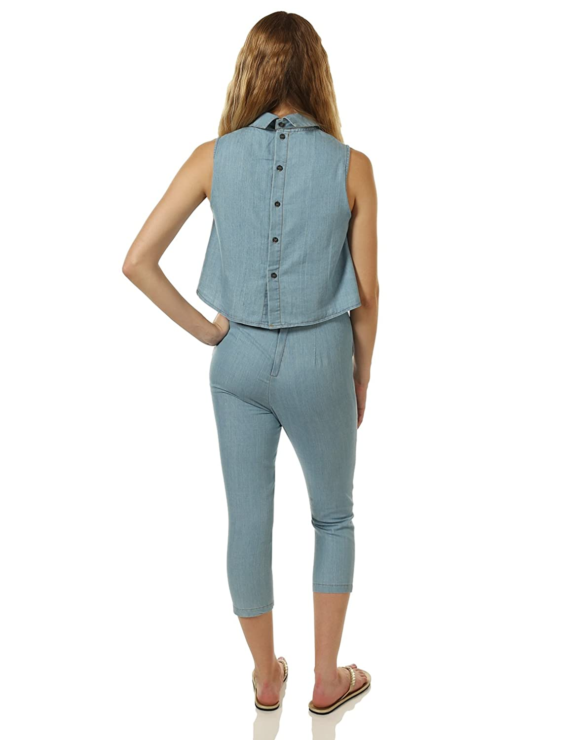 a83b3077258d Amazon.com  7Encounter Women s Open-Back Sleeveless Point Collar Capri  Jumpsuit Denim  Clothing