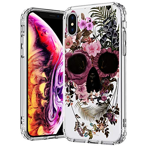 MOSNOVO Case for iPhone Xs/iPhone X, Floral Skull Flower Clear Design Printed Transparent Hard Back case with TPU Bumper Protective Case Cover for iPhone X/iPhone Xs