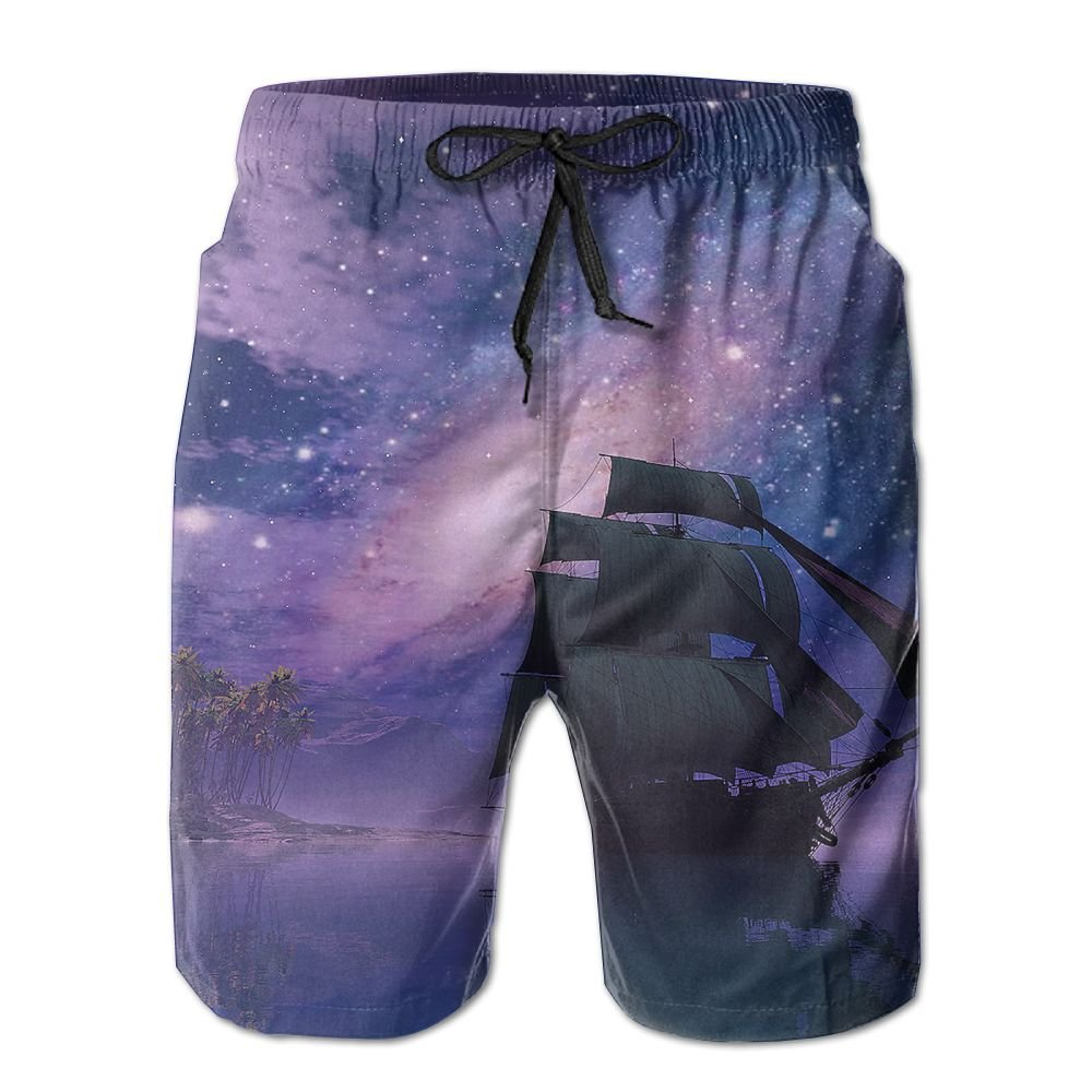 Space Galaxy colorful Magnificent Mens Beach Shorts Elastic Waist Pockets Lightweight Swimming Board Short Quick Dry Short Trunks