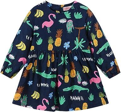 Vestidos Niña Invierno otoño 0-5 Años Vestido Floral Manga Larga Algodón Camisetas Vestidos Niñas Bebés Princesa Vestido Estampado de Flores de Fiesta Ropa Vestidos Niña Wedding Party Birthday Dress: Amazon.es: Ropa y