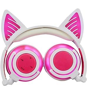 Auriculares Inalámbricos Bluetooth de Oído de Gato , Headset Niños Plegables Recargable con Mic,Headphones