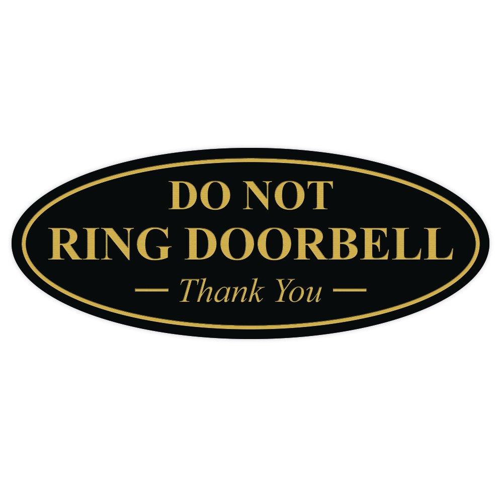 楕円形Do NotリングDoorbell Thank You sign 3-1/2