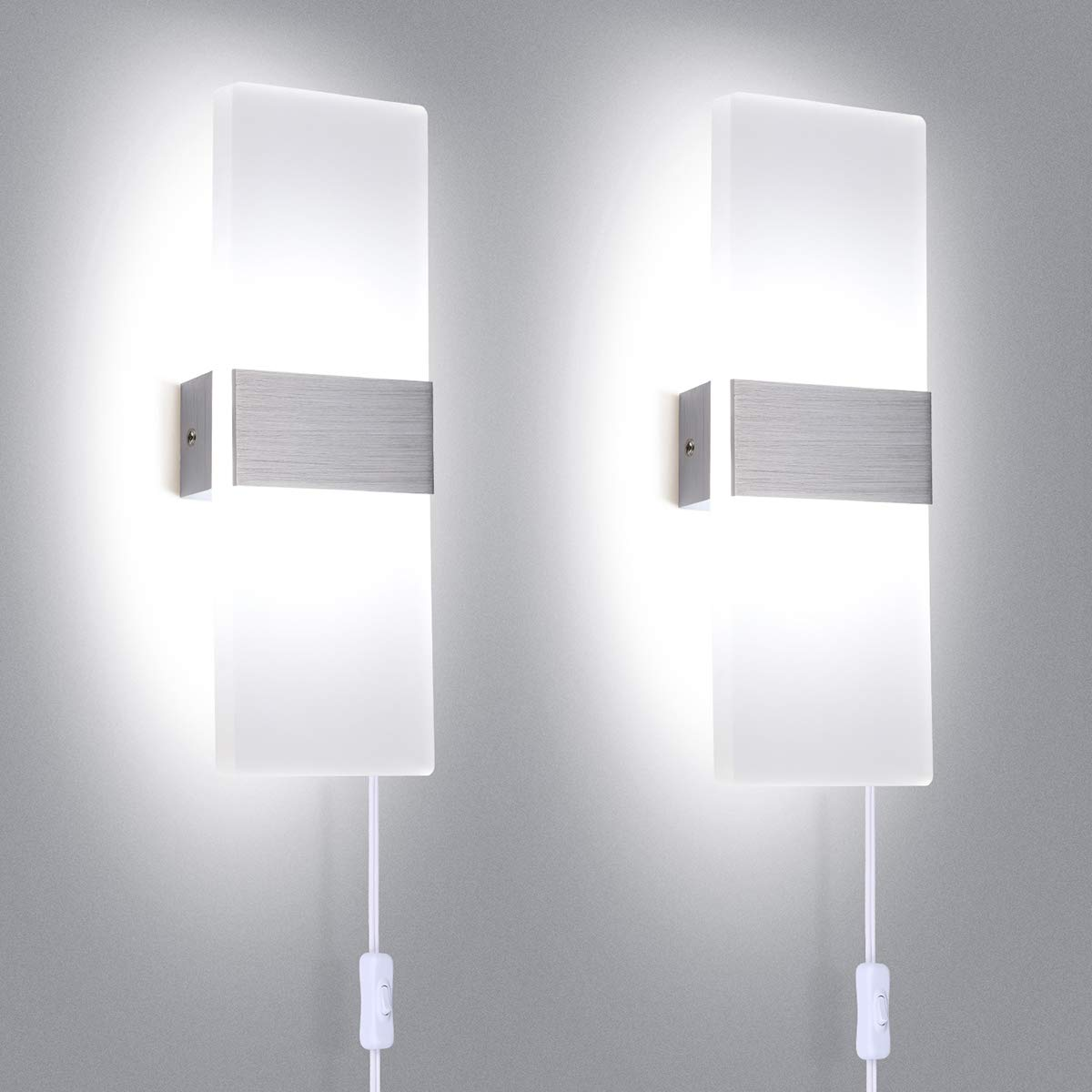 TRLIFE Modern Wall Sconces Set of 2, Plug in Wall Sconces 12W 6000K Cool White Acrylic Wall Sconce Lighting with On/Off Switch