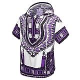 African Dashiki Unisex Traditional Hoodie Top(Purple)