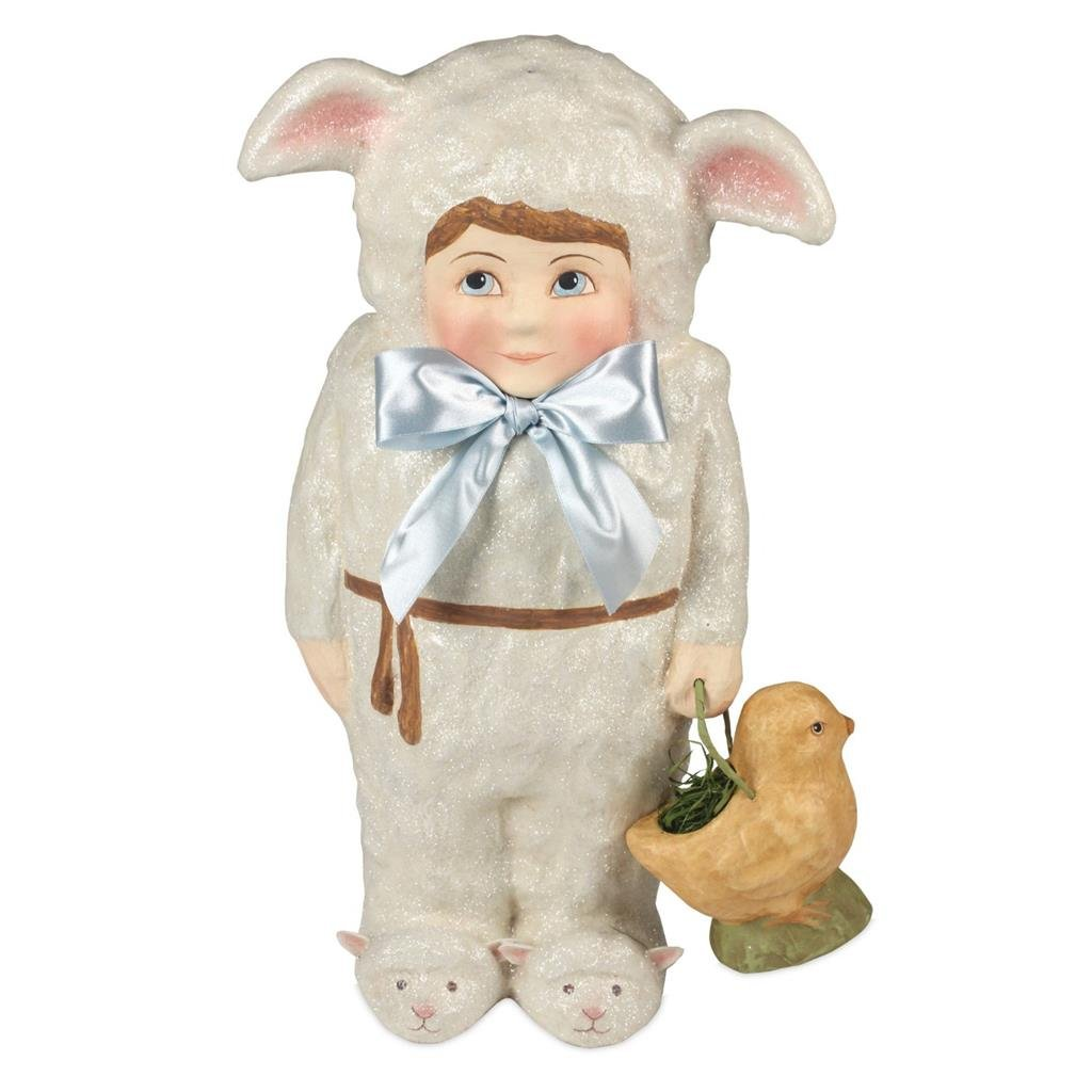 Bethany Lowe Easter Wishes Large Lambikins Boy in Bunny Outfit Figure, 19''