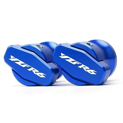 Blue Aluminum CNC 8mm Swingarm Arm Spool Sliders With logo For Yamaha YZF R6