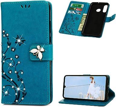 MUSESHOP Funda para Huawei P30 Lite, Estuche para Celular con Diamantes con Brillantini y Libro de Cuero Flip Case, Carcasa PU Leather con TPU Silicona Case Interna Suave, Soporte Plegable, Azul: Amazon.es: