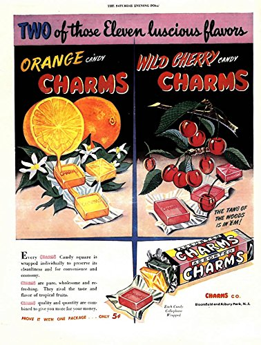 (Two of those 11 luscious flavors Orange & Wild Cherry Charms ad 1946 SEP)