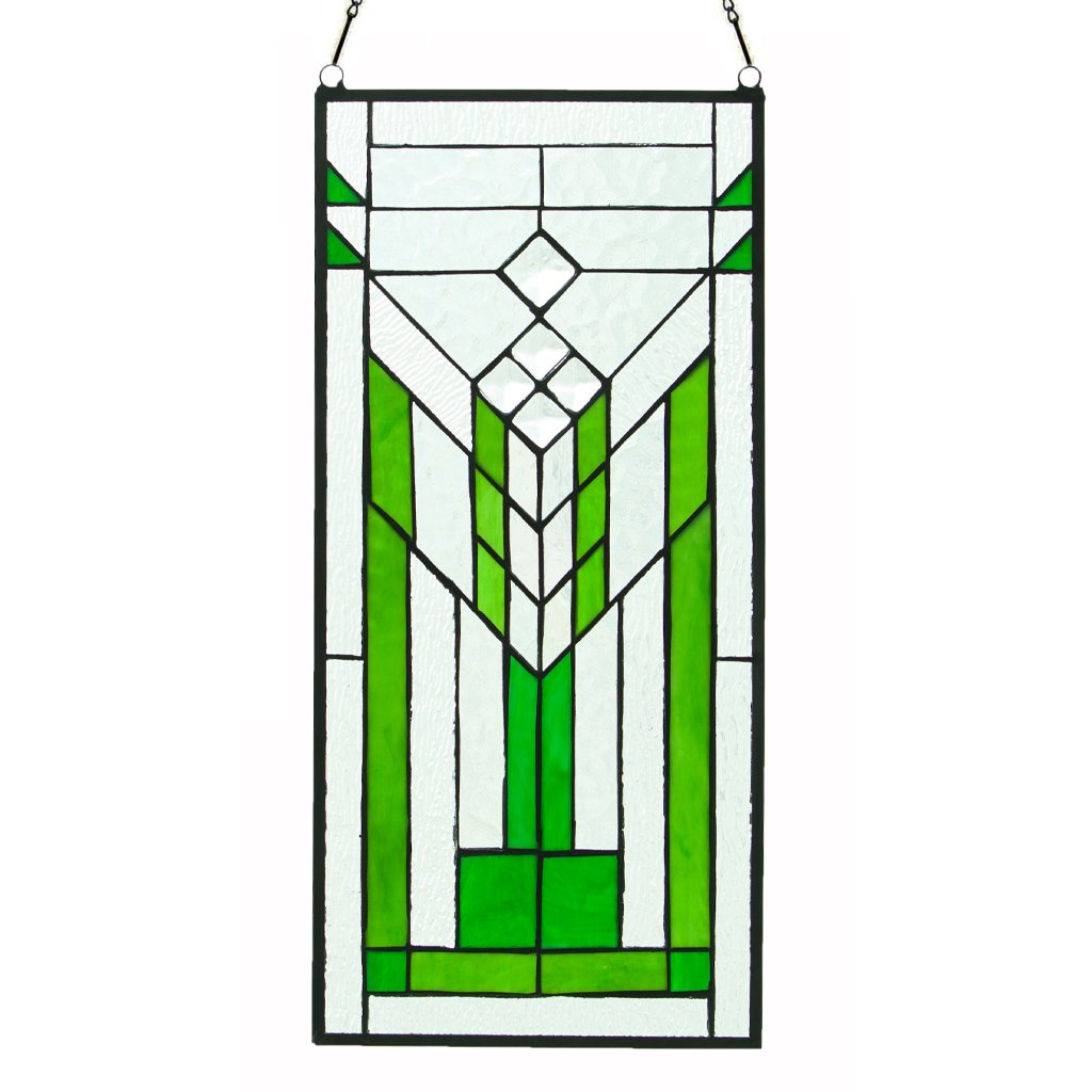 River Of Goods Glass Stained Glass Window Panels 15106 River Of Goods 19.5 Inch Tall Stained Glass Mission Green & Clear Window Panel 9 X 19.5 X 0.25 Inches Multicolored