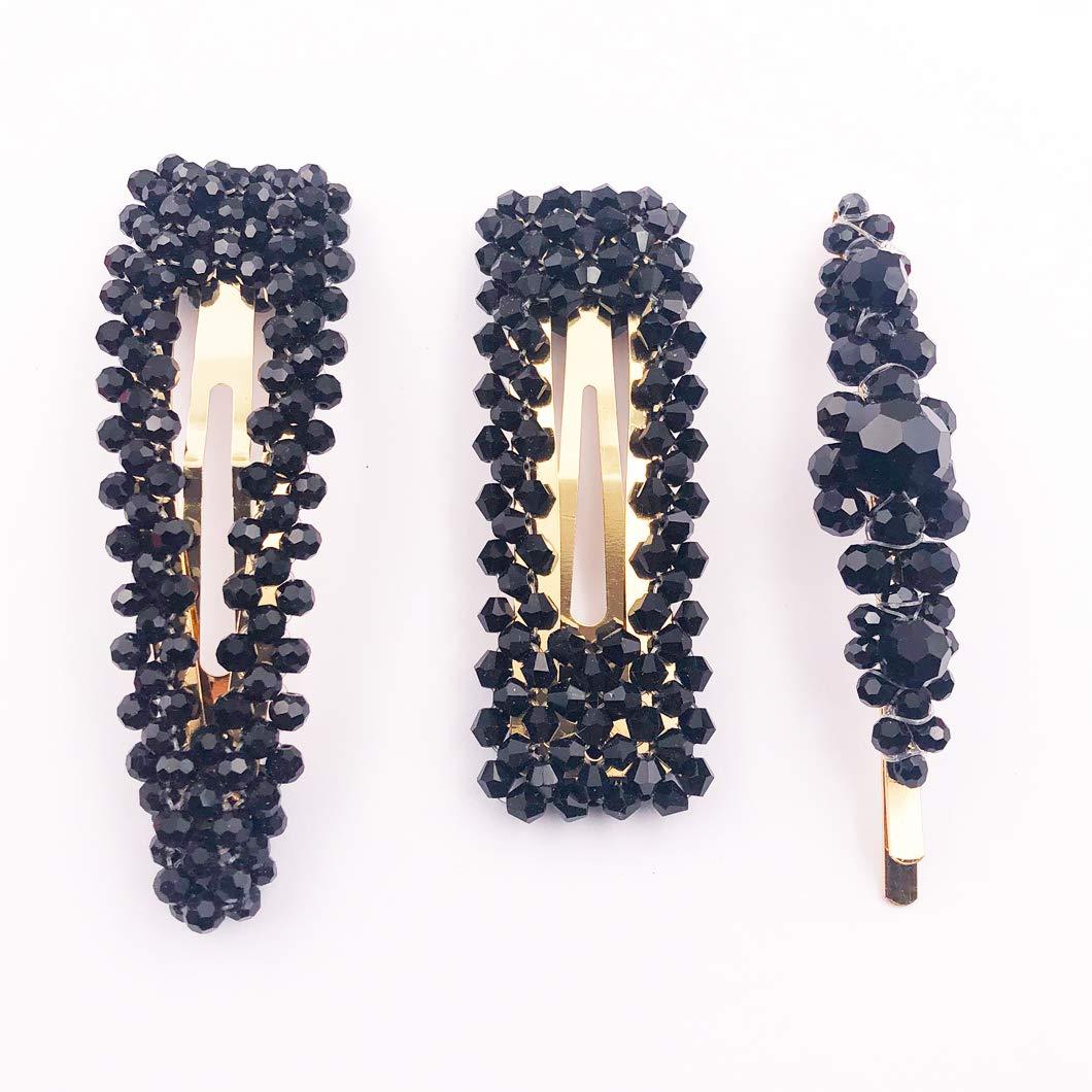 Crystal Hair Barrettes Fashion Geometric Snap Rhinestone Hair Clips for Women and Ladies Hair Accessories (Black / 3 Pcs)