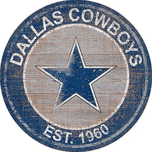 Dallas Cowboys Team Logo 24 inch Round Distressed Vintage Sign for Football Sports Fan Wall Decor CHOOSE YOUR TEAM!!! (Cowboys)