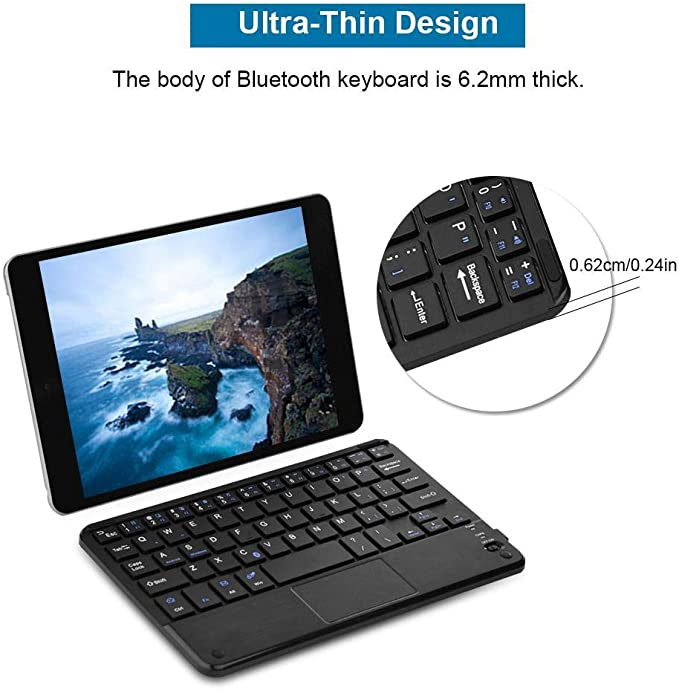 Ultra-Slim Wireless USB Keyboard Computer Bluetooth3.0 Keyboard with Touchpad for Windows PC Android Tablet//Android Phone
