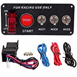 MATCC Ignition Switch Panel,12V 30A Auto Engine Starter Push Button Racing Ignition Switch Red LED Toggle Carbon Fiber Panel with 5 buttons