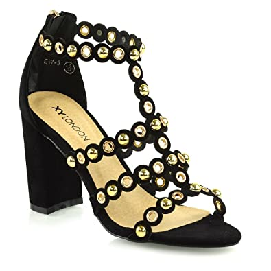 07cfee3212765 ESSEX GLAM Womens Chunky Block Mid High Heel Sandals Ladies Studded Straps  Zip Party Prom Faux