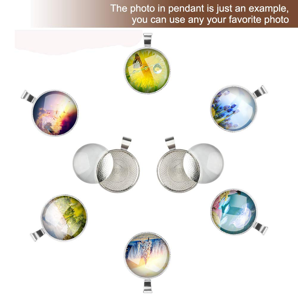 Accmor Photo Jewelry Pendant Kit Including 20 Pcs Silver Pendant Tray with 20 Pcs Transparent Glass Cabochons Round Pendant Bezels 1 inch//25mm for Jewelry Making Clear Glass Dome Cabochon