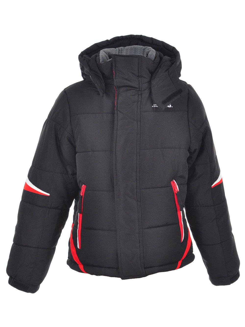 London Fog Big Boys' Active Puffer Jacket Winter Coat, Super Black, 14/16