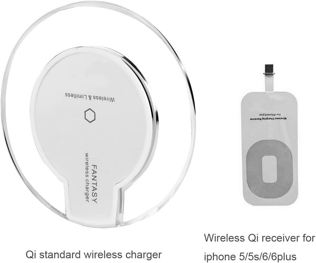 Fantasy Qi Wireless Charging Mini Pad for Apple iphone 5,iphone 5S,iphone 5C,iphone 6,iphone 6S,iphone 6S Plus,iphone 6 Plus,ipod Touch Wireless Charger [White]