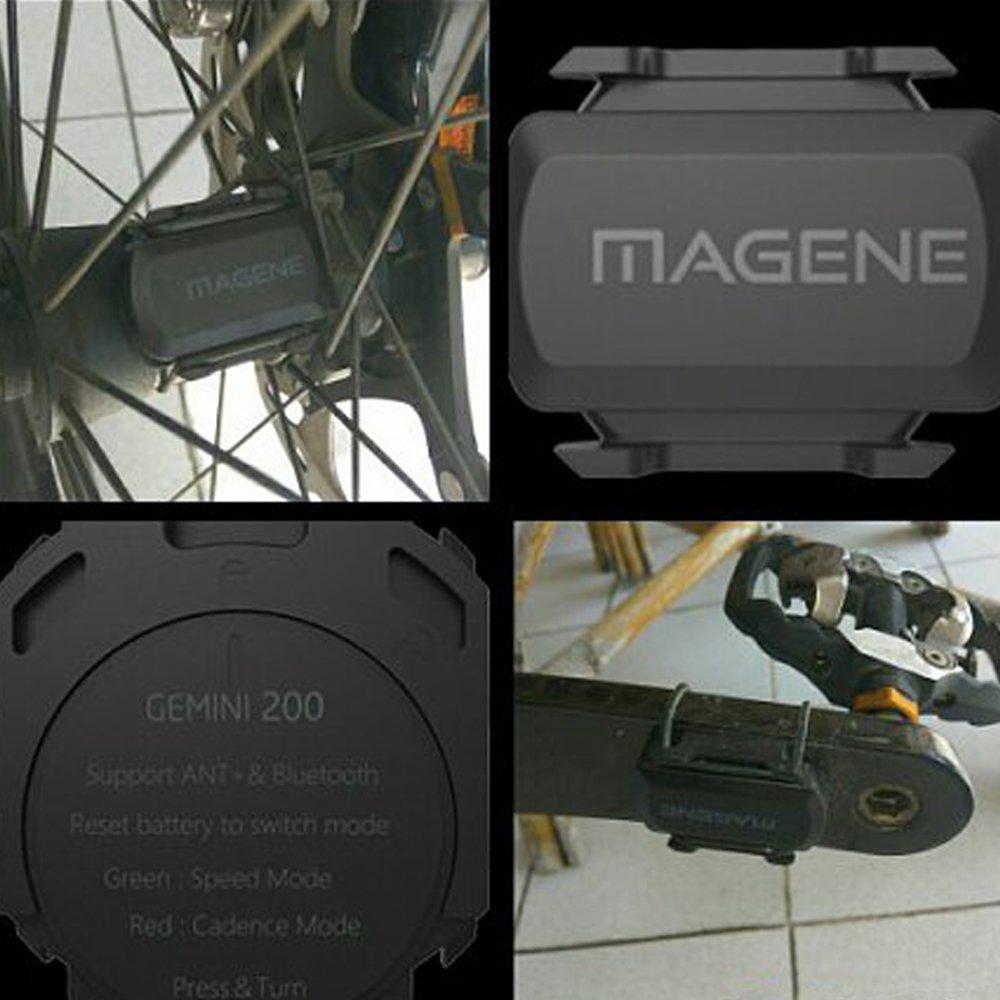 Sensor de velocidad y cadencia Magene Gemini 200 con ANT+ y bluetooth, no usa imán, inalámbrico, compatible con Garmin y ordenador de bicicleta Bryton, ...