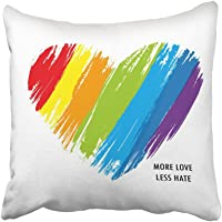 Emvency 18X18 inch Throw Pillow Cover Polyester Colorful Pride LGBT Heart in Format Rainbow Love Flag Gay Proud Diversity LGTB Community Cushion Decorative Pillowcase Square Two Side Print for Home