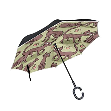 BENNIGIRY Patrón sin costuras con bonito patrón de gatos impresión coche inverso paraguas al aire libre