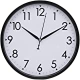 Hippih 10 Inch Silent Non-ticking Simple Wall Clock Black