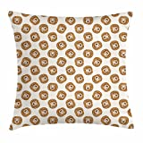 Lunarable Lion Throw Pillow Cushion Cover, Cartoon Style Animal Portraits Kings of The Forests of Africa Giant Mammal Pattern, Decorative Square Accent Pillow Case, 16 X 16 inches, Brown Beige