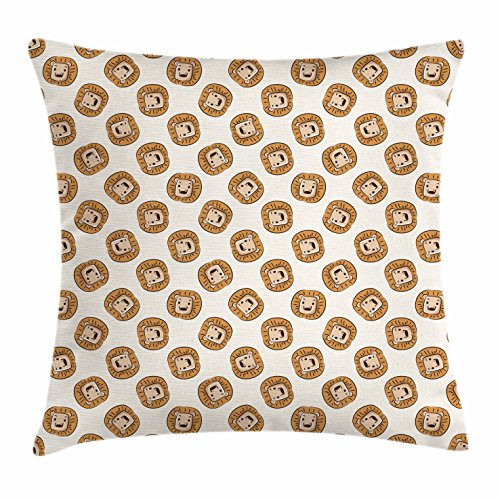 Lunarable Lion Throw Pillow Cushion Cover, Cartoon Style Animal Portraits Kings of The Forests of Africa Giant Mammal Pattern, Decorative Square Accent Pillow Case, 16 X 16 inches, Brown Beige by Lunarable