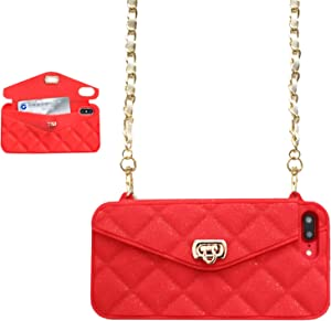 UnnFiko Wallet Case Compatiblewith iPhone 6 Plus/iPhone 6s Plus, Pretty Luxury Bag Design, Purse Flip Card Pouch Cover Soft Silicone Case with Long Shoulder Strap (Red, iPhone 6 Plus / 6s Plus)